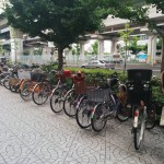 Bicycles parked everywhere.