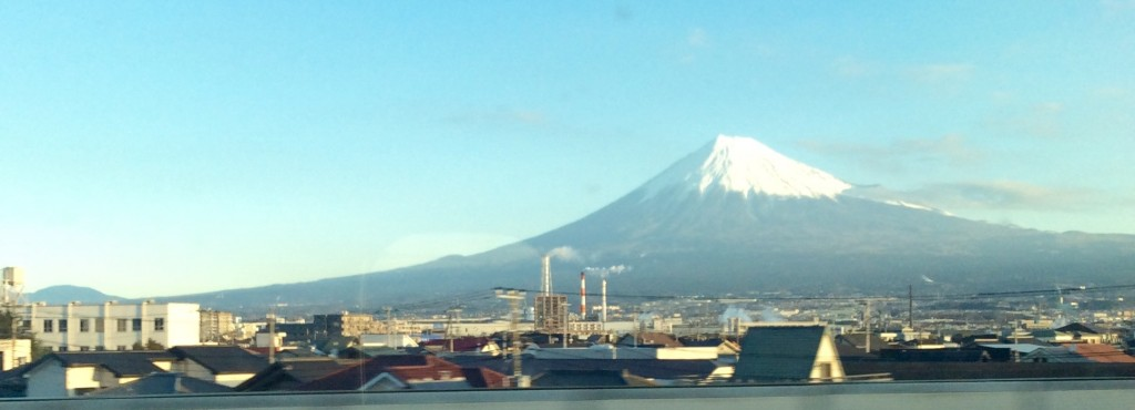 View of Mount Fuji on board Shinkansen bound for Kyoto.